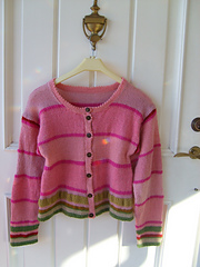 Pink cardigan from Poetry in stitches