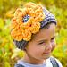 Chunky Ribbed Earwarmer Headband with Rose pattern