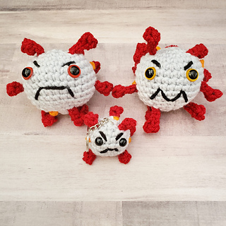 You can find a free pattern for the bigger Coronavirus Plushies on my Ravelry Page.