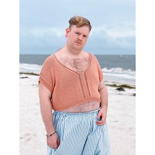 """59"""" garment on 50"""" chest, body length knit to 8"""" before upper body split."""