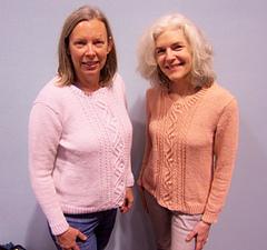 Matching cardigans were test knits for designer, Jennifer Wood