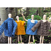 Mini Sweater #1 is the blue turtleneck sweater at the far left