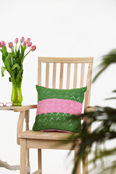 This pillow cover features a lacy stitch