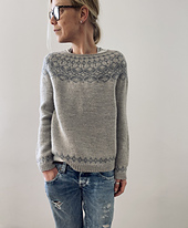 sample shows the pullover without neck finishing