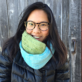 Simple Twist of Fate Cowl in Aqua and Green