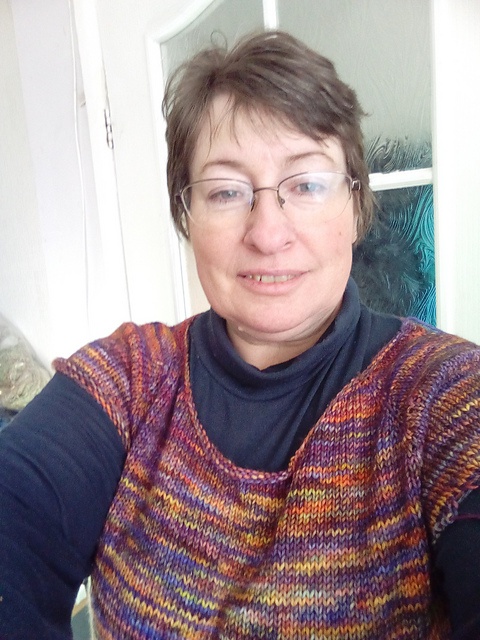 Loraine wearing her Daelyn Sweater before adding the sleeves, knitted in Malabrigo Rios colour Archangel with 5mm needles.