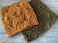 Aran version, short cowl in Mustard, taller cowl in Khaki knitted with Stylecraft Special DK