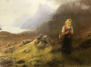 «Strikkende seterjente» by Hans Dahl (1849-1937); Molden looms in background