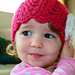 Pink hat with flower pattern