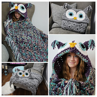 Handmade owl Blanket crochet circle owl blanket  owl baby blanket  crochet owl blanket made and ready to ship