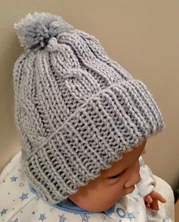 FREE Cable Baby Bobble Hat Knitting Pattern