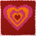 Heart Squares Afghan, Square 1: Psychedelic Heart pattern