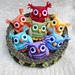 Nesting Rainbow owls pattern