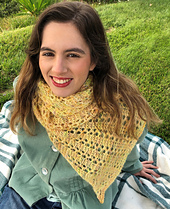 Model wearing High Flyer scarf in yellow
