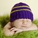 Plain and Striped Newborn Purple Hat pattern