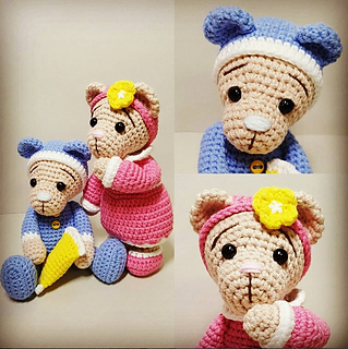 Sleepy Bear Amigurumi Free Crochet Pattern | 320x319