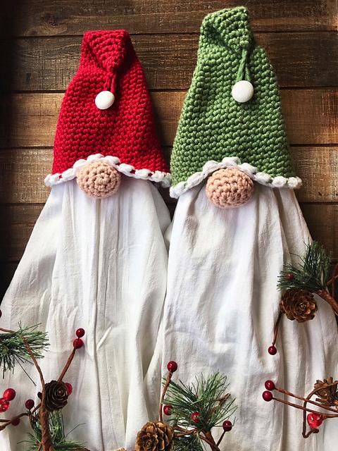 Handmade Kitchen Gnome Dish towel Hanger with Flour sack towel