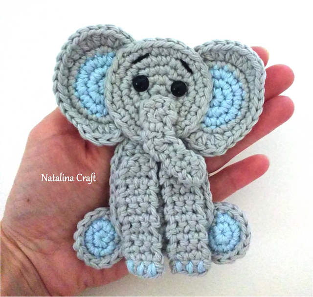 Crochet elephant applique in baby blue elephant motif baby clothes ... | 607x640