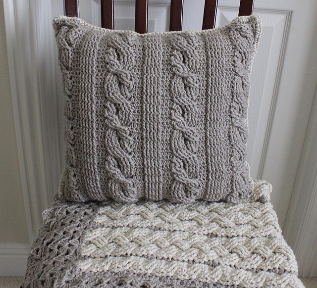 A Crochet Pillow Pattern White Braided Cables