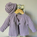 Textured round yoke baby sweater and hat – P046 pattern