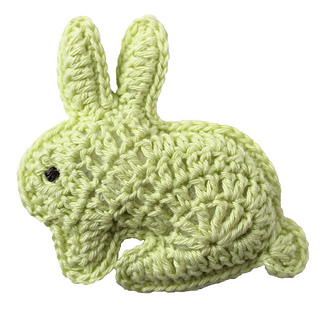Two rabbits crocheted together for a soft toy