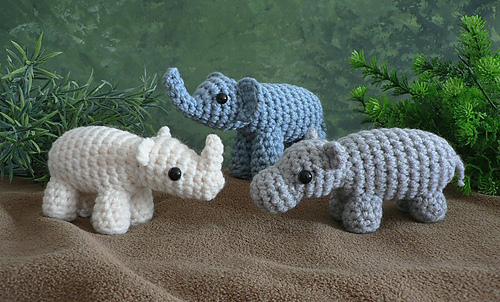 AfricAmi Set 1 (Elephant, Hippo, Rhino patterns)
