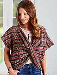 Multicolor twist front knit topper