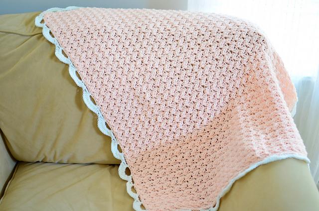 Dark Peach Blanket with Scalloped Edging