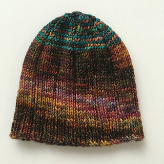 knit side out with a striped crown