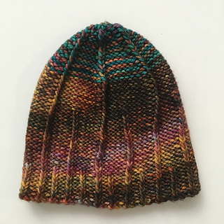 purl side out with a striped crown