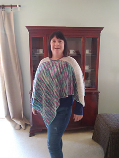 """Model is 5'-6"""" with 48"""" bust wearing Size 2, which creates a relaxed roomy fit. This side shows the wider stripes."""