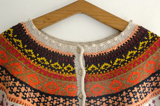 The sweater is designed to have the buttons running down the back. This means, it can also be worn as a cardigan.