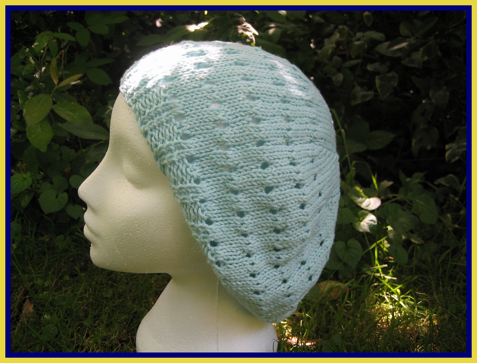 slouchy hat knitting pattern for summer beret in 100% cotton yarn