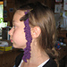Crocheted hair feather pattern